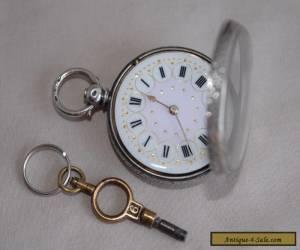 Antique Swiss 935 Sterling Silver & Enamel Pocket Fob Watch w Key - 3 Bears HM for Sale