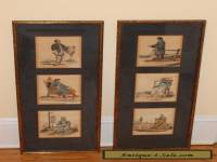 Six Antique Framed Chinese Genre Character Prints Hand Colored 6 Images