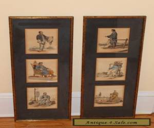 Six Antique Framed Chinese Genre Character Prints Hand Colored 6 Images  for Sale