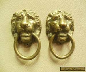 VINTAGE PAIR OF  BRASS LION HEAD DRAWER PULLS  for Sale