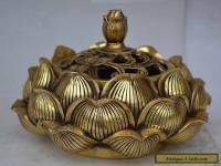 Chinese collectable statue lotus copper Incense burner NR