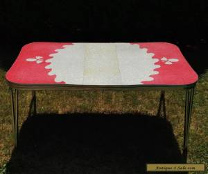 Vintage Retro Red White Cracked Ice Formica & Chrome Diner Kitchen Table w Leaf for Sale