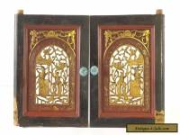 Pair of Antique Chinese Red & Gold Wooden Carved Panel
