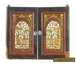 Pair of Antique Chinese Red & Gold Wooden Carved Panel for Sale