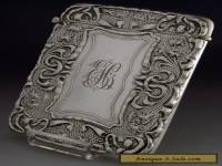 STUNNING STERLING SILVER ART NOUVEAU CARD CASE 1903 ANTIQUE