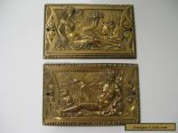 "2 Antique Brass Furniture Applique Plaques 5"" x 3-1/4"" Numbered"