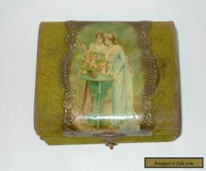 Small Victorian Jewelry Box w Velvet & Celluloid Transfer Print Covering for Sale