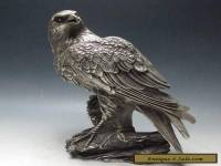 Chinese Old Silver Bronze Handwork Carved Eagle Statue w Xuande Mark