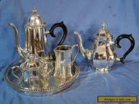 REED & BARTON Lexington Silverplate Tea Set Service Teapot s Sugar Cream Tray