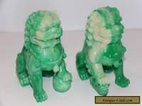 Pair (2) Vintage Foo Dog Feng Shui Chinese Green White Swirl Figure Statues