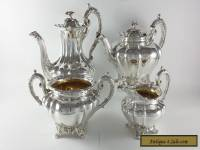 ANTIQUE EARLY VICTORIAN SOLID STERLING SILVER 4 PIECE TEA SET LDN 1842