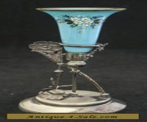 Lovely 1880 Victorian Aesthetic Meriden Silver Blue Opaline Glass Epergne Vase for Sale
