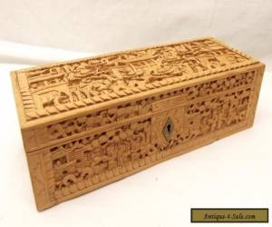 Antique Hand Carved Canton Glove Box Sandalwood Intricate Carved Panel 3D Relief for Sale