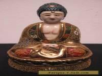 Japanese Satsuma Figural Seated Buddha Porcelain Moriage