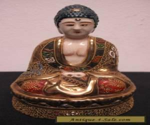 Japanese Satsuma Figural Seated Buddha Porcelain Moriage for Sale