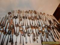100 Pcs Mixed Lot of Silverplate Flatware for Crafts Jewelry Scrap And Use