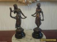 RARE Antique Art Nouveau French Bronzed Cast Iron Female Statue's 1900 - 1910