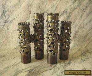 "ROBERT STANTON ""Brutalist/Modernist"" Brass Double Candle Holders SET/2 MCM VTG for Sale"