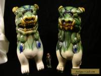 "Large Vintage Pair of Ceramic Foo Dogs 8 1/2"" tall"
