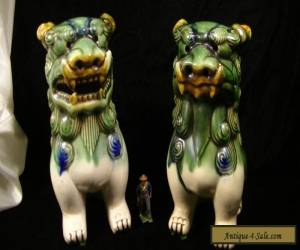 """Large Vintage Pair of Ceramic Foo Dogs 8 1/2"""" tall for Sale"""
