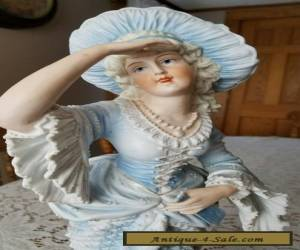 """Antique French German Bisque Porcelain Figurine Woman 16"""" T Marked 21 for Sale"""