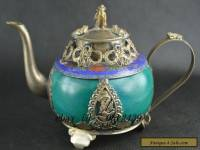 Chinese Vintage Collectibles Jade & Cloisonne Armored Miao Silver Dragon Tea Pot