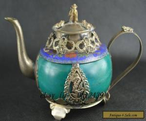 Chinese Vintage Collectibles Jade & Cloisonne Armored Miao Silver Dragon Tea Pot for Sale