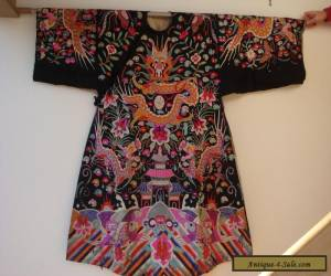 Chinese Antique Embroidered Black fabric Robe 19c Dragons Koi Clouds SALE! for Sale
