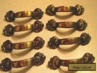 Vintage Lot of 8 Antique Brass Amerock Door/Drawer Pull Handles #735-1