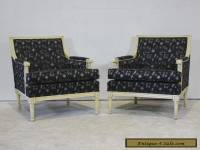 Pair of Louis XVI style occasional arm chairs mahogany wood