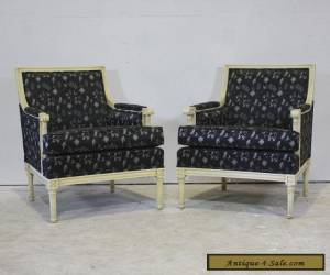 Pair of Louis XVI style occasional arm chairs mahogany wood for Sale