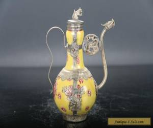 Retro painted peony Tibetan silver inlay porcelain tea pot and rat lid E710 for Sale