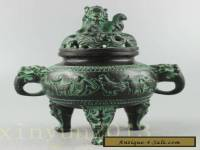 Collectible Decorated Old Handwork Bronze Carved 12 Zodiac Dragon Incense Burner