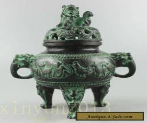 Collectible Decorated Old Handwork Bronze Carved 12 Zodiac Dragon Incense Burner for Sale