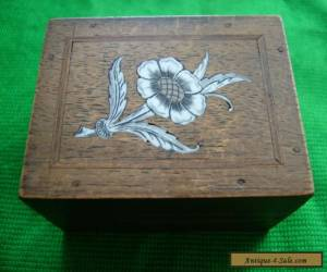 WONDERFUL VINTAGE INLAID WITH BONE ? FLOWER / SMALL WOODEN BOX for Sale