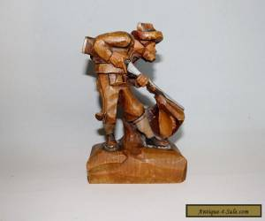 ANTIQUE VINTAGE CARVED WOODEN ANRI STYLE HUNTER FIGURE for Sale