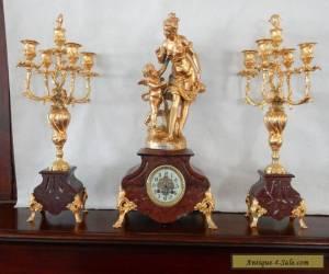 Antique Victorian French Rouge Marble Mantle Clock Set Garnitures - Fritz Marti for Sale