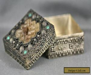Beautiful Antique Tibetan Silver Box With Set Old Jade & Turquoise Bead for Sale