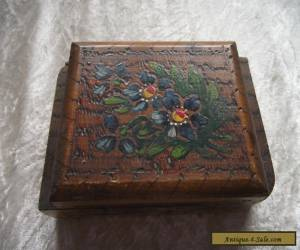 Vintage Wooden hand Painted Floral Box for Sale
