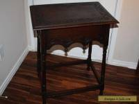 c. 1900 Antique English Carved Oak Lamp Table Side Table Nightstand