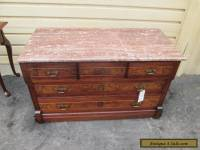 54564 Antique Victorian Walnut Dresser with Marble top