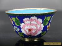 Exquisite Chinese  ancient Cloisonne handmade painting lotus  flower bowl E402
