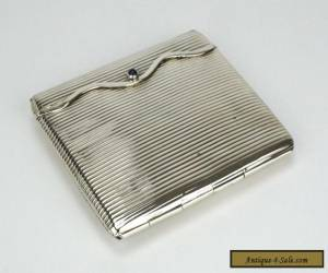 German solid silver ribbed cigarette case box with sapphire cabochon 1900 for Sale