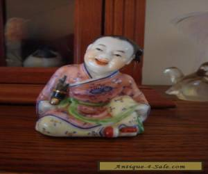 CHINESE FIGURINE BOY SMILING OPEN MOUTH PORCELAIN for Sale