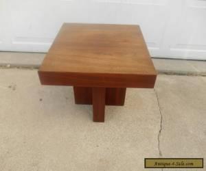 Vintage Mid-Century Danish Modern Walnut Wood End Side Lamp Table Chunky for Sale