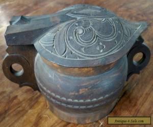 Vintage oak hand carved celtic style storage pot  for Sale