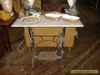 Marble Top Iron Sewing Machine Table Vintage Antique Urban Rustic Work