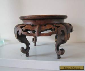 Antique Japanese / Chinese carved wood stand for vase for Sale