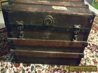 Vintage Wooden Flattop Steamer Trunk luggage BROWN coffee table antique Box