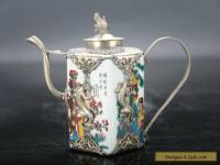 Retro painted woman Tibetan silver inlay porcelain teapot and monkey lid E719